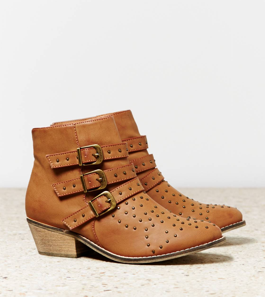 Tan AEO Studded Buckled Bootie
