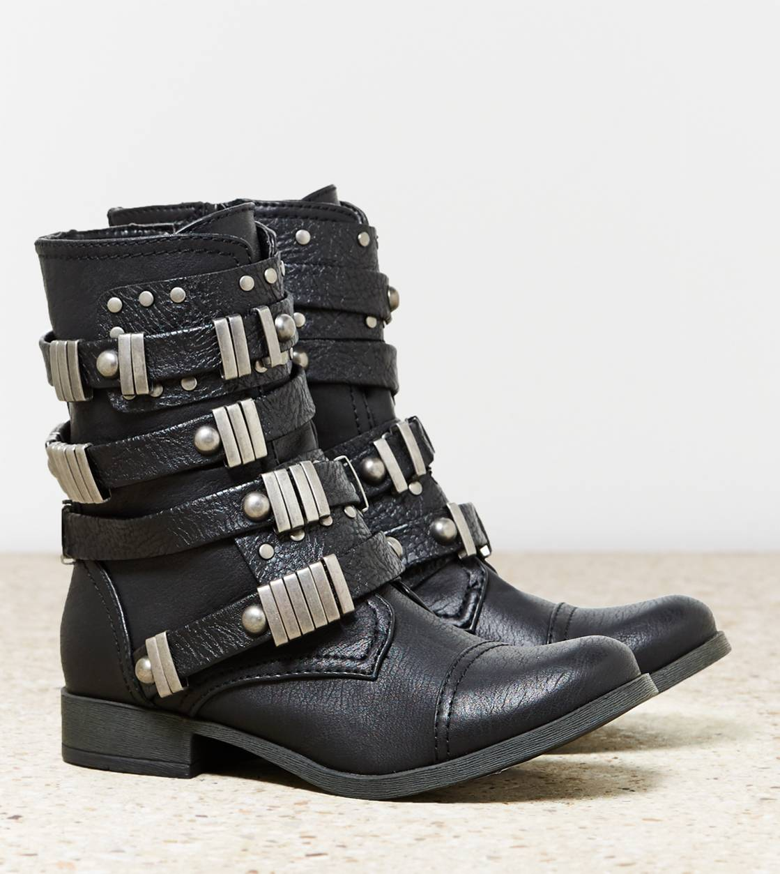 Black AEO Buckled Moto Boot
