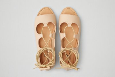 Lace-Up Open Toe Flat