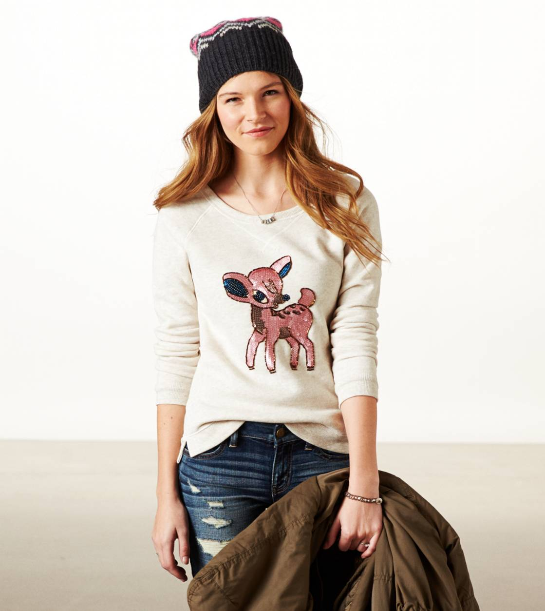 Oatmeal AE Cute Animal Sweatshirt