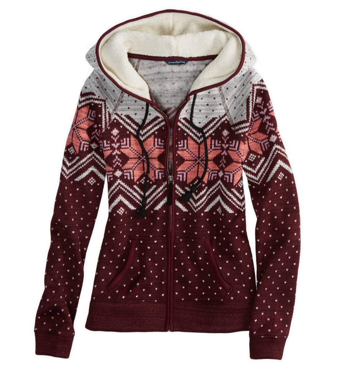 Burgundy AE Fair Isle Polar Fleece Hoodie