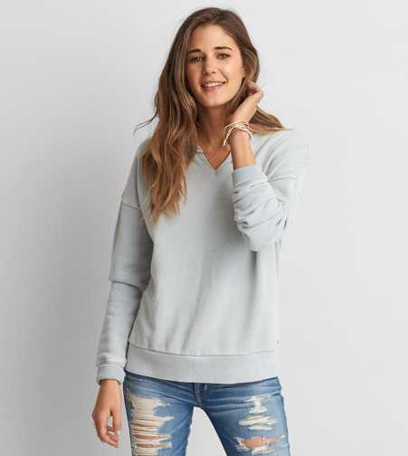 AEO Wash Notched Crew Sweatshirt
