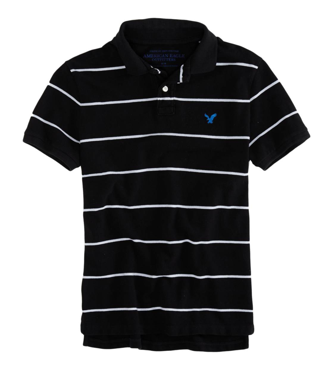 True Black AEO Factory Striped Polo