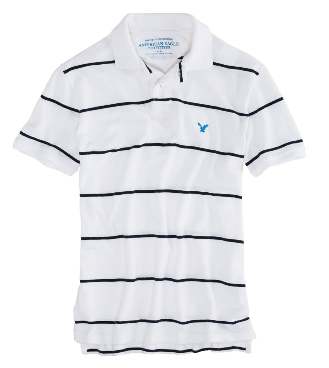 White  AEO Factory Striped Polo