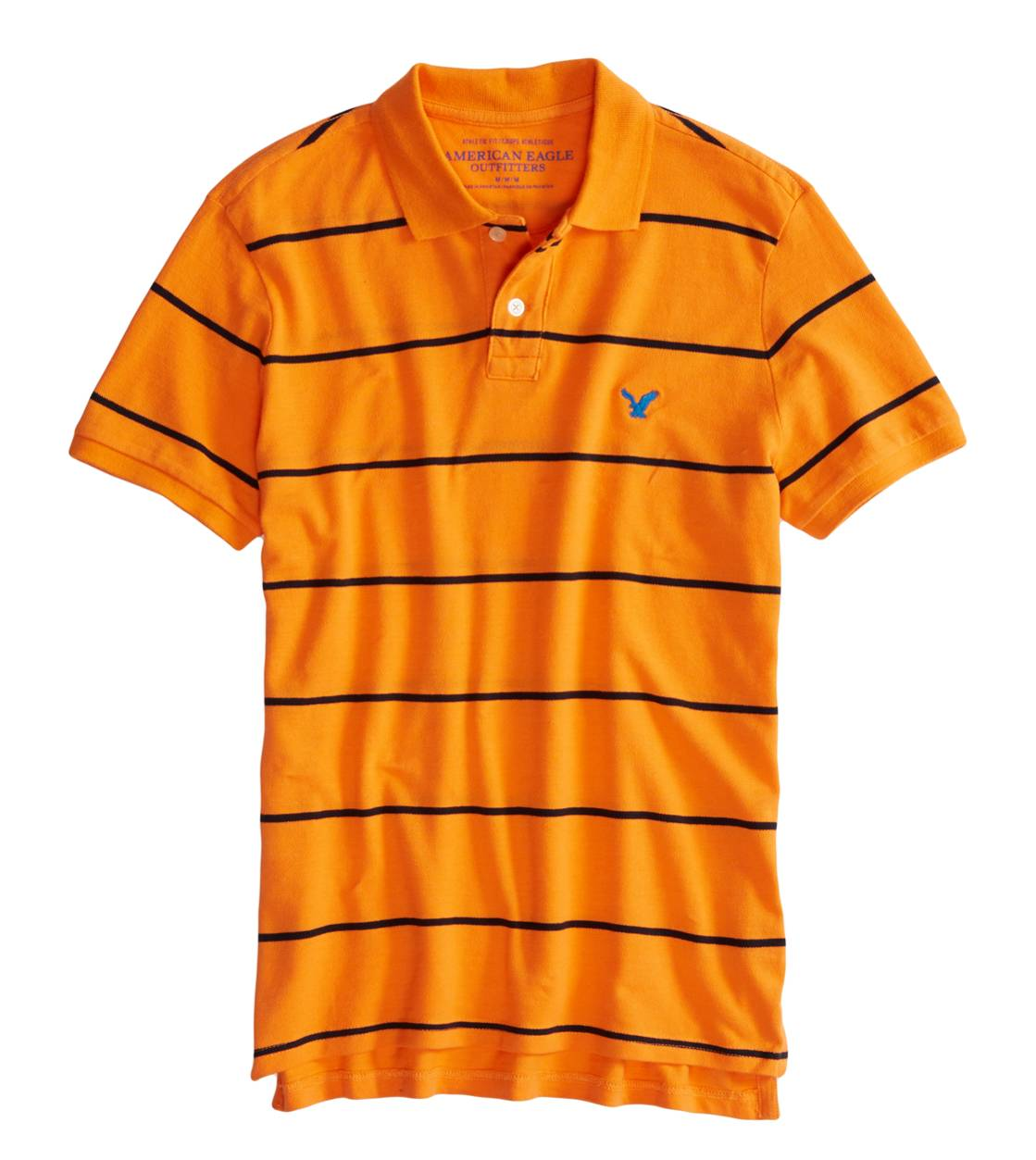 Victory Orange AEO Factory Striped Polo