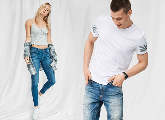Womens and Mens Jeans Image