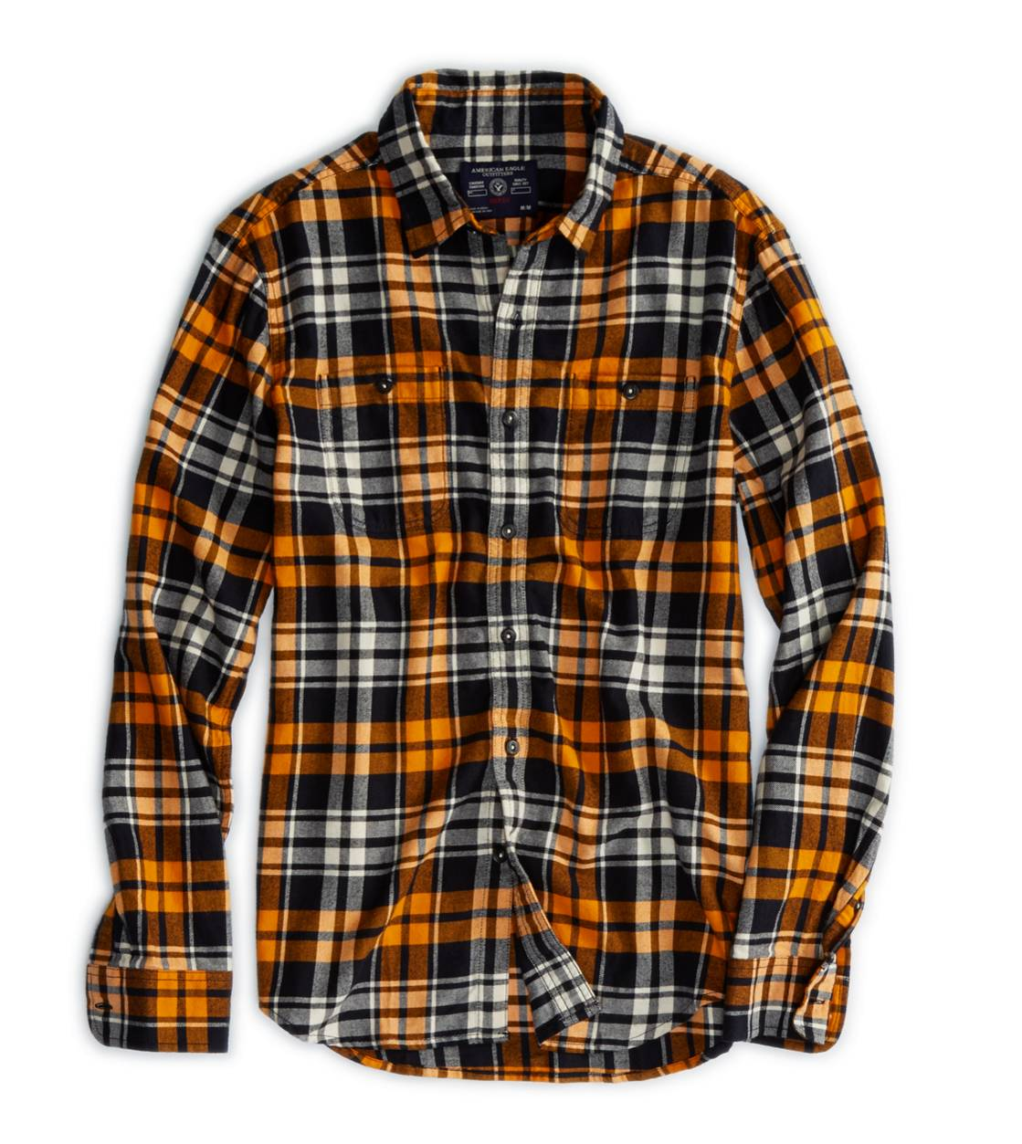 Orange AE Epic Flannel Shirt
