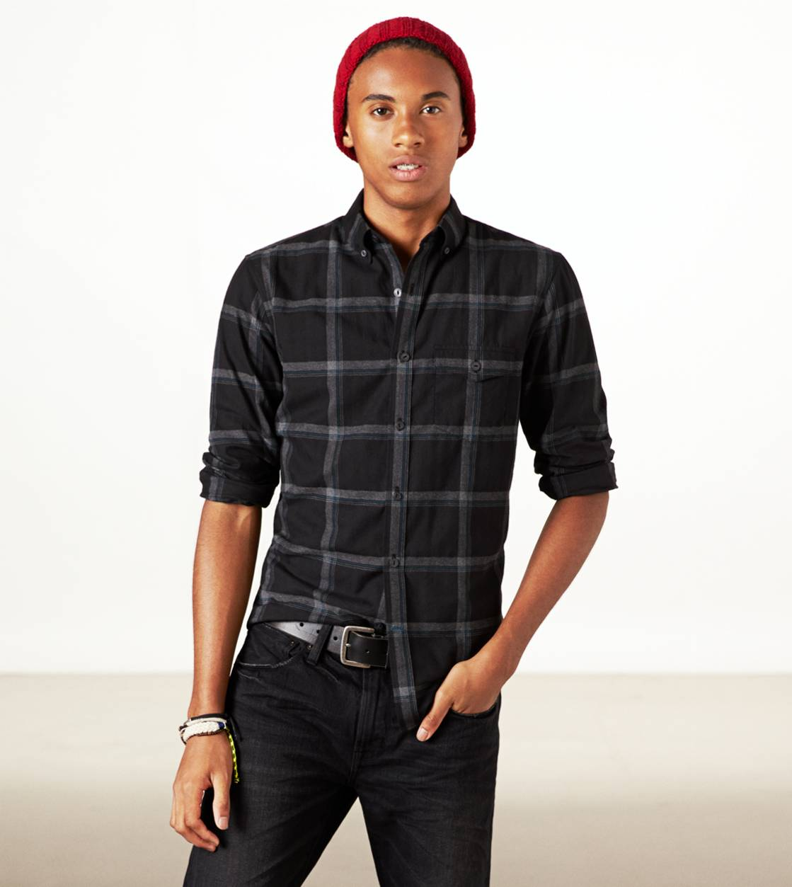Black AE Epic Flannel Shirt