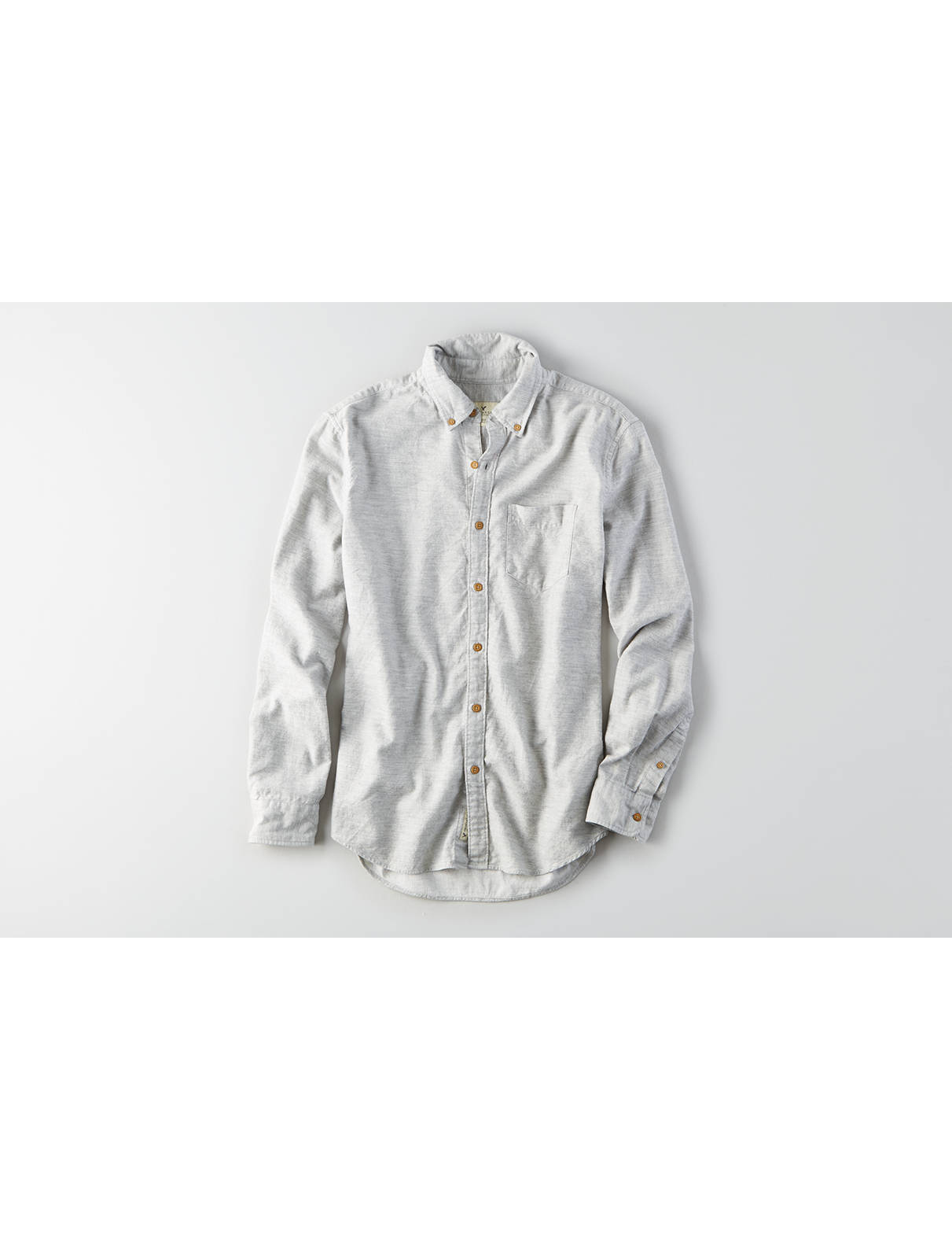 Display product reviews for AEO Solid Heathered Twill Shirt