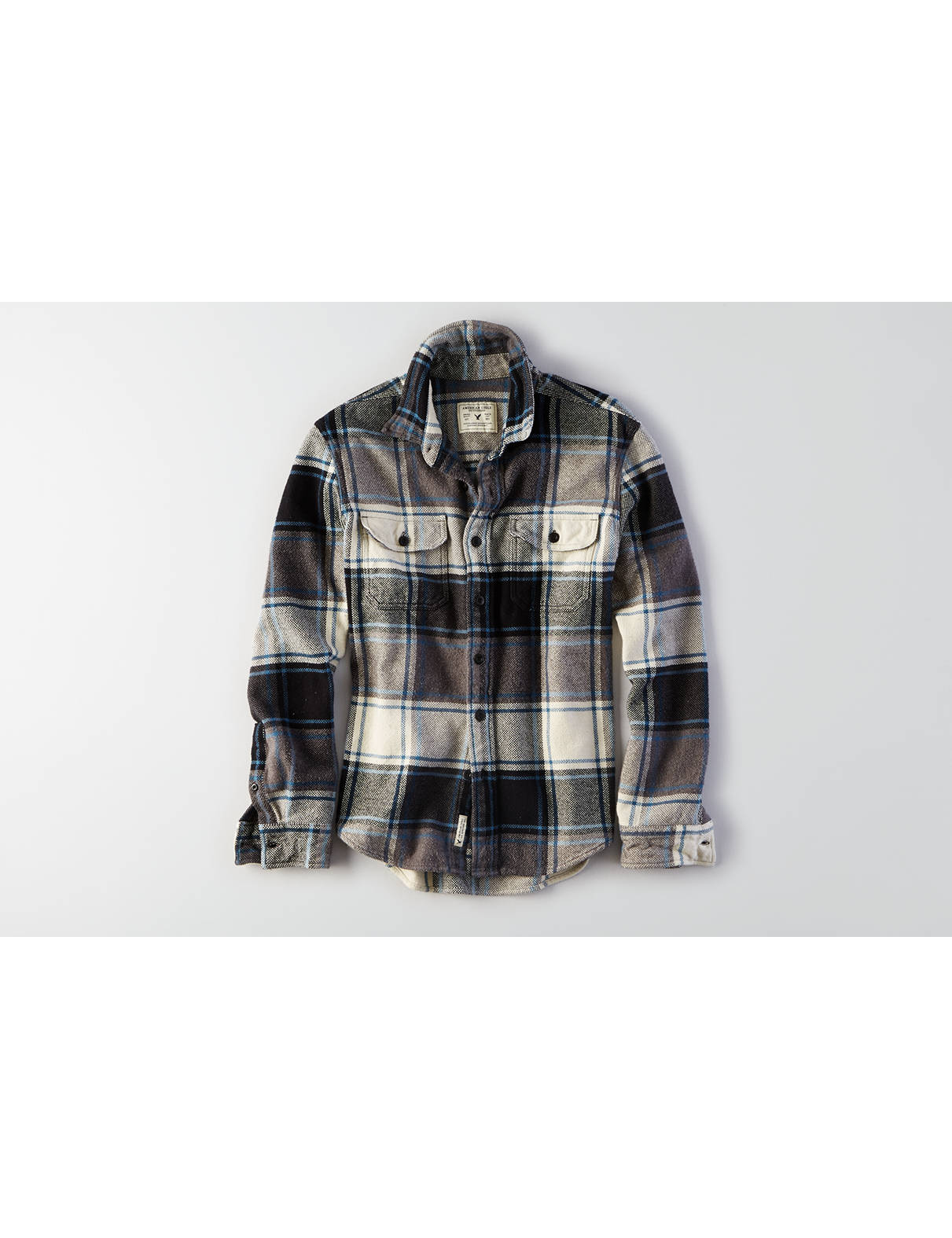 Display product reviews for AEO Plaid Shirt Jacket