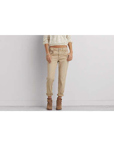 Khaki Cotton Twill Pants | American Eagle Outfitters
