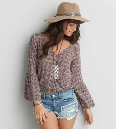 AEO Bell Sleeve Wrap Blouse