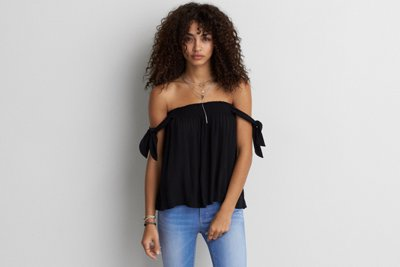 Open Shoulder Tie Sleeve Top