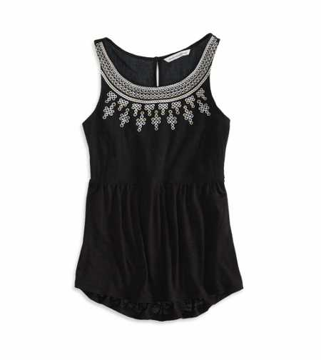 AE Gauzy Embroidered Tank