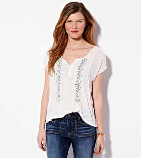 AE Embroidered Henley T-Shirt