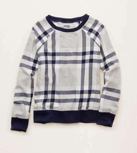 Aerie Plaid Sweatshirt
