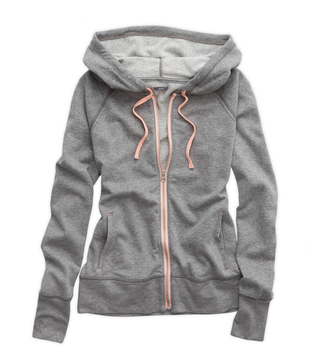 Dark Heather Grey Aerie Full Zip Hooded Sweatshirt