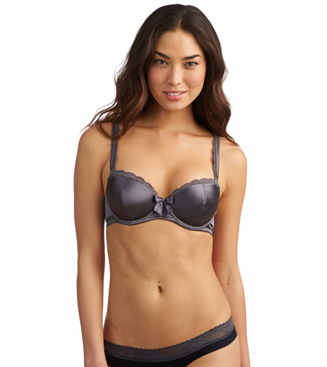 Pewter Holly Satin Pushup Bra