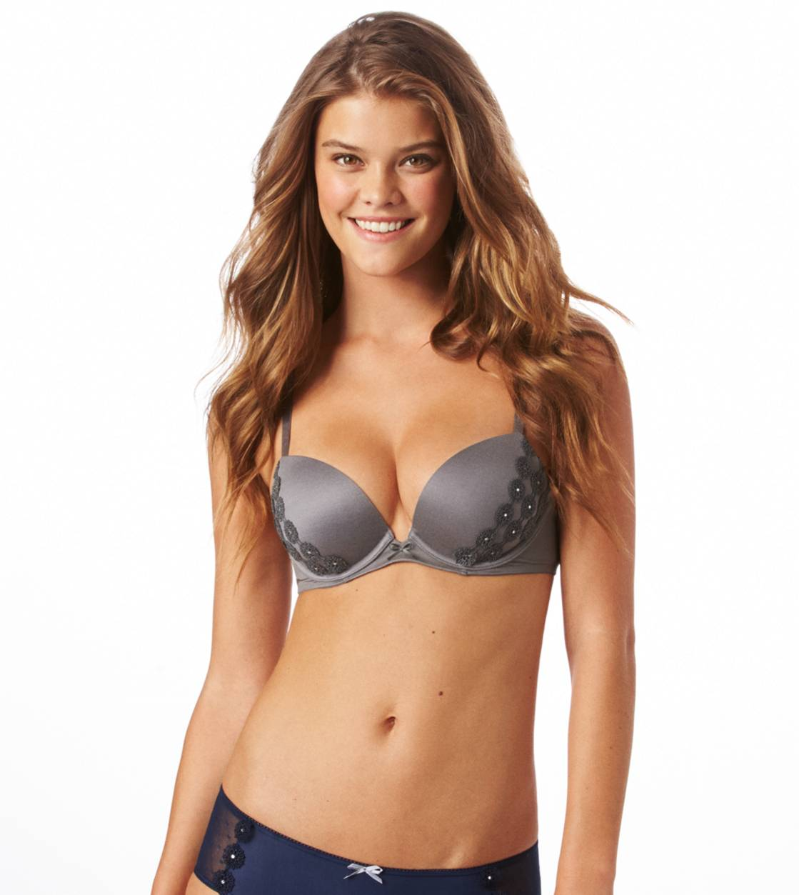 Pewter Lexi Floral Applique Pushup Bra