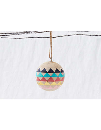 Glitterville Wood Pattern Triangle Ornament   -