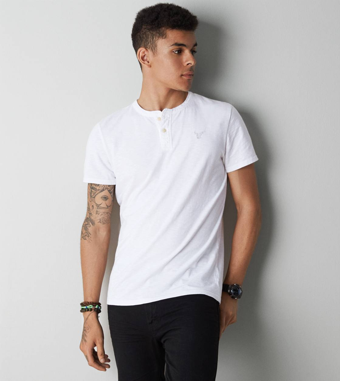 White  AE Legend Henley T-Shirt