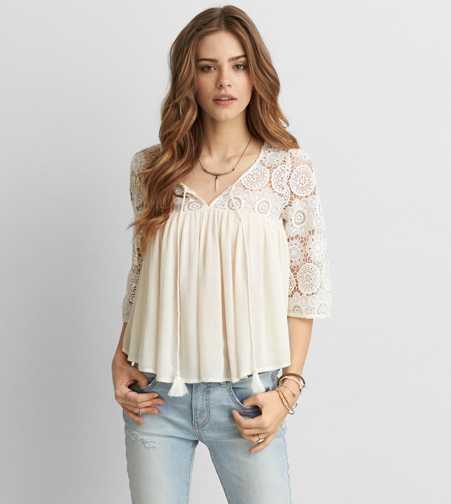 AEO Lace Peasant Top