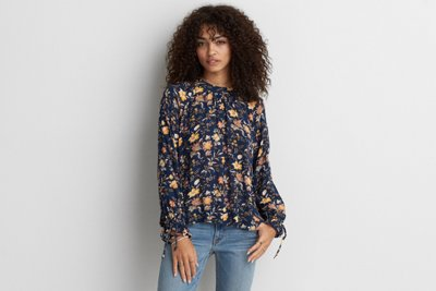 Mock Neck Printed Top