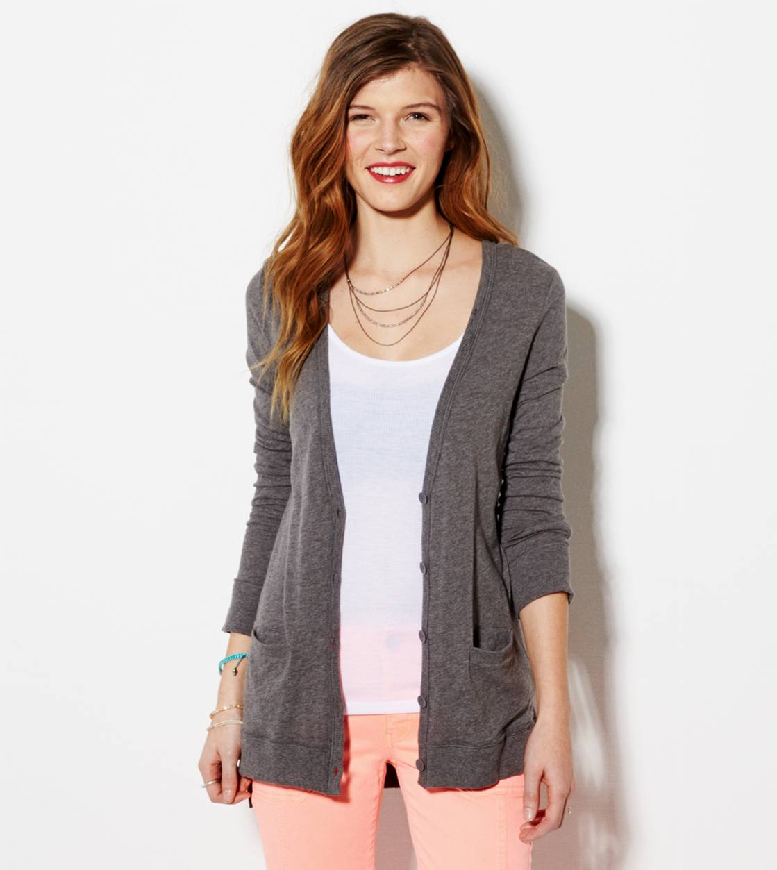 Dark Heather Grey AE Lightweight Boyfriend Cardigan