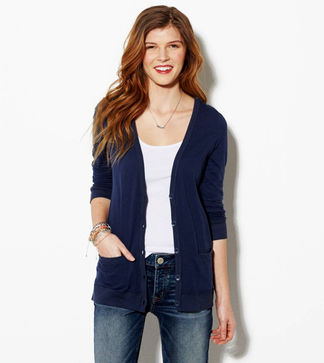 Navy AE Lightweight Boyfriend Cardigan