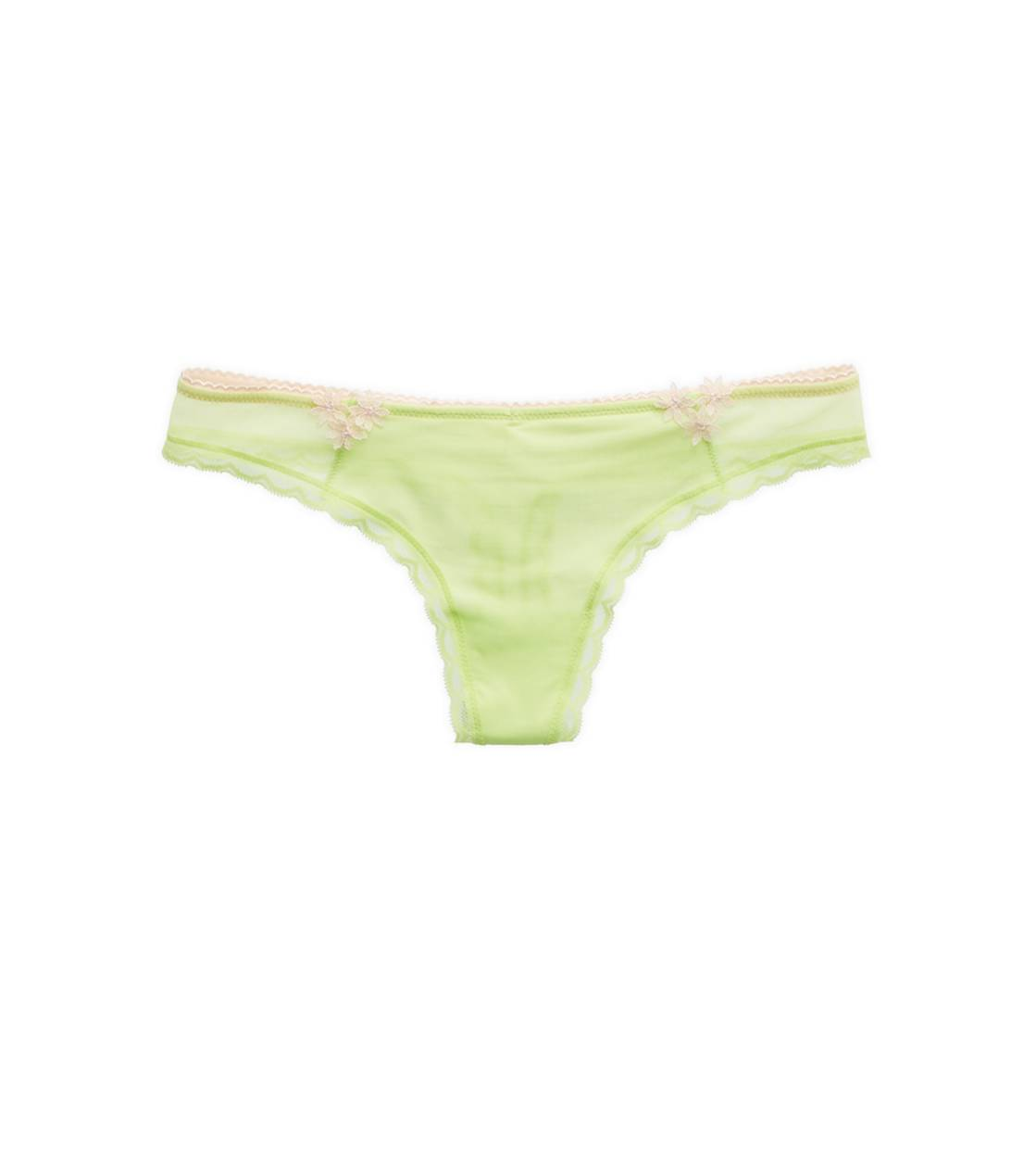 Sharp Green Aerie Flower Applique Thong