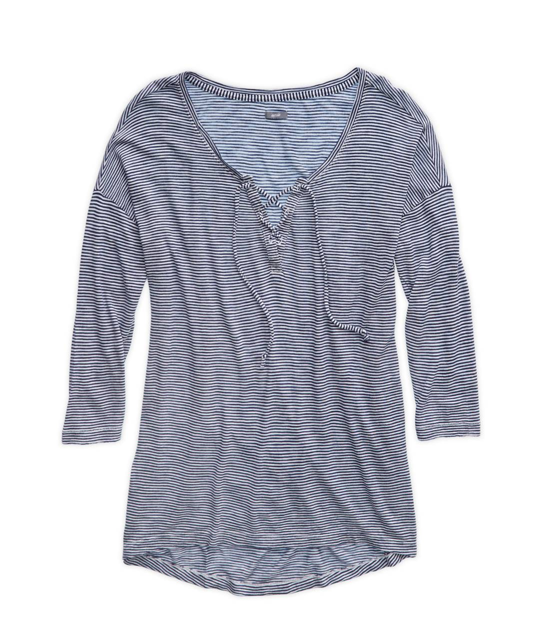 Odyssey Blue Aerie Comfy Striped Lace-Up T-Shirt