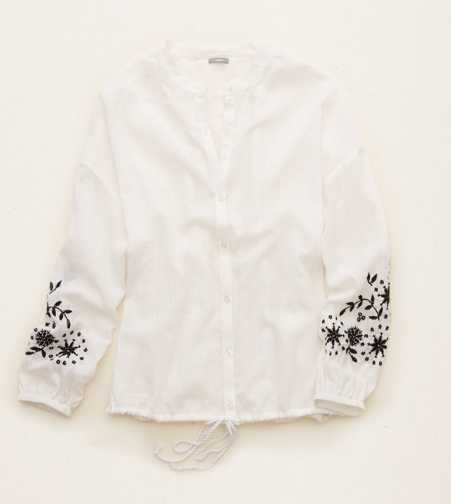 Aerie Embroidered Button Down Shirt