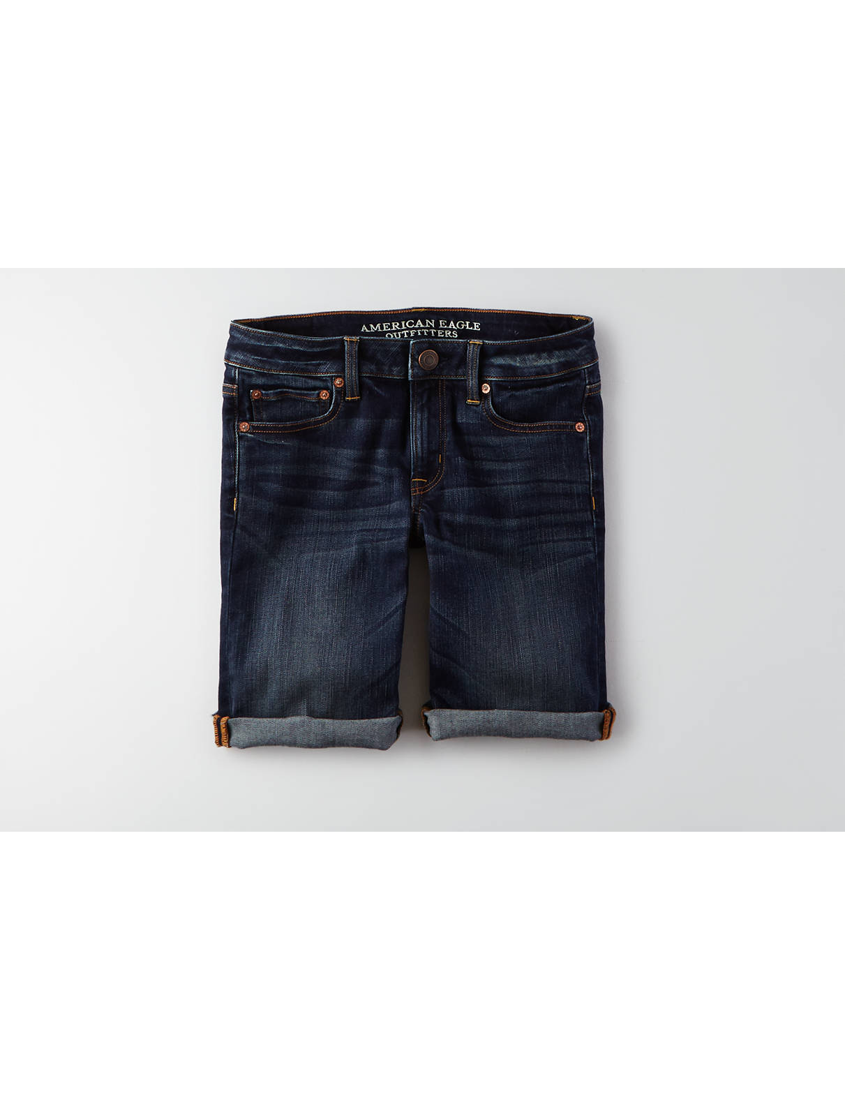 Display product reviews for AEO Skinny Denim Bermuda Short
