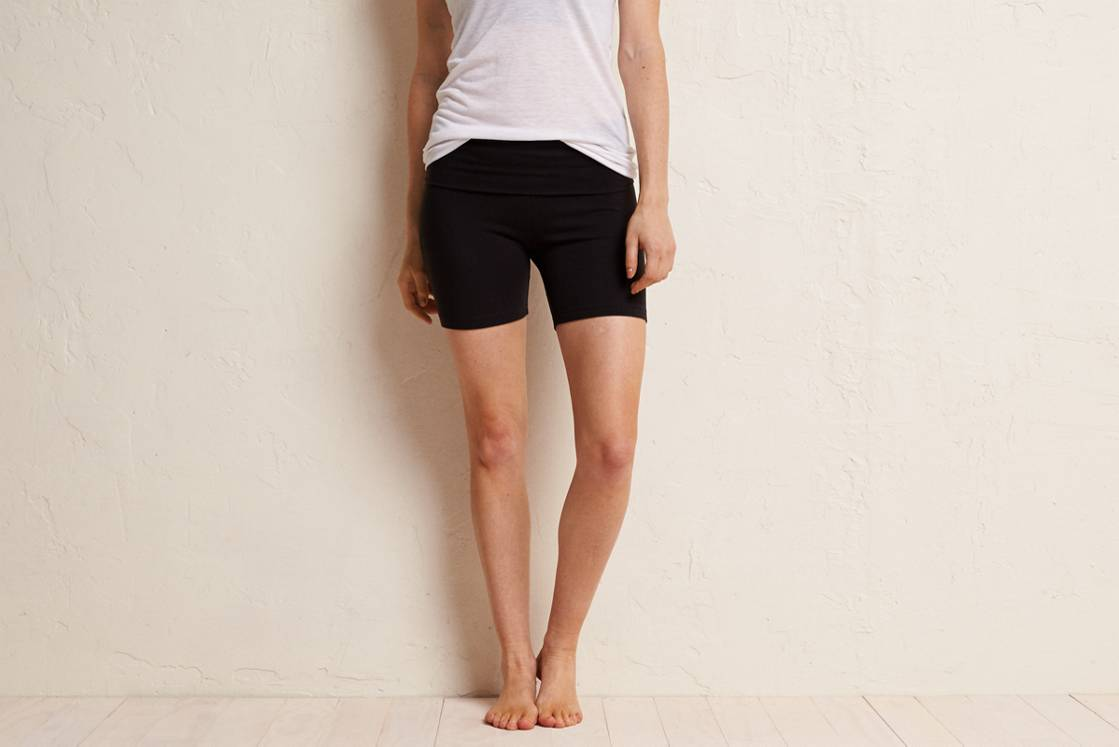 True Black Aerie Yoga Midi Short