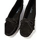 Black Minnetonka Kilty Suede Moccasin