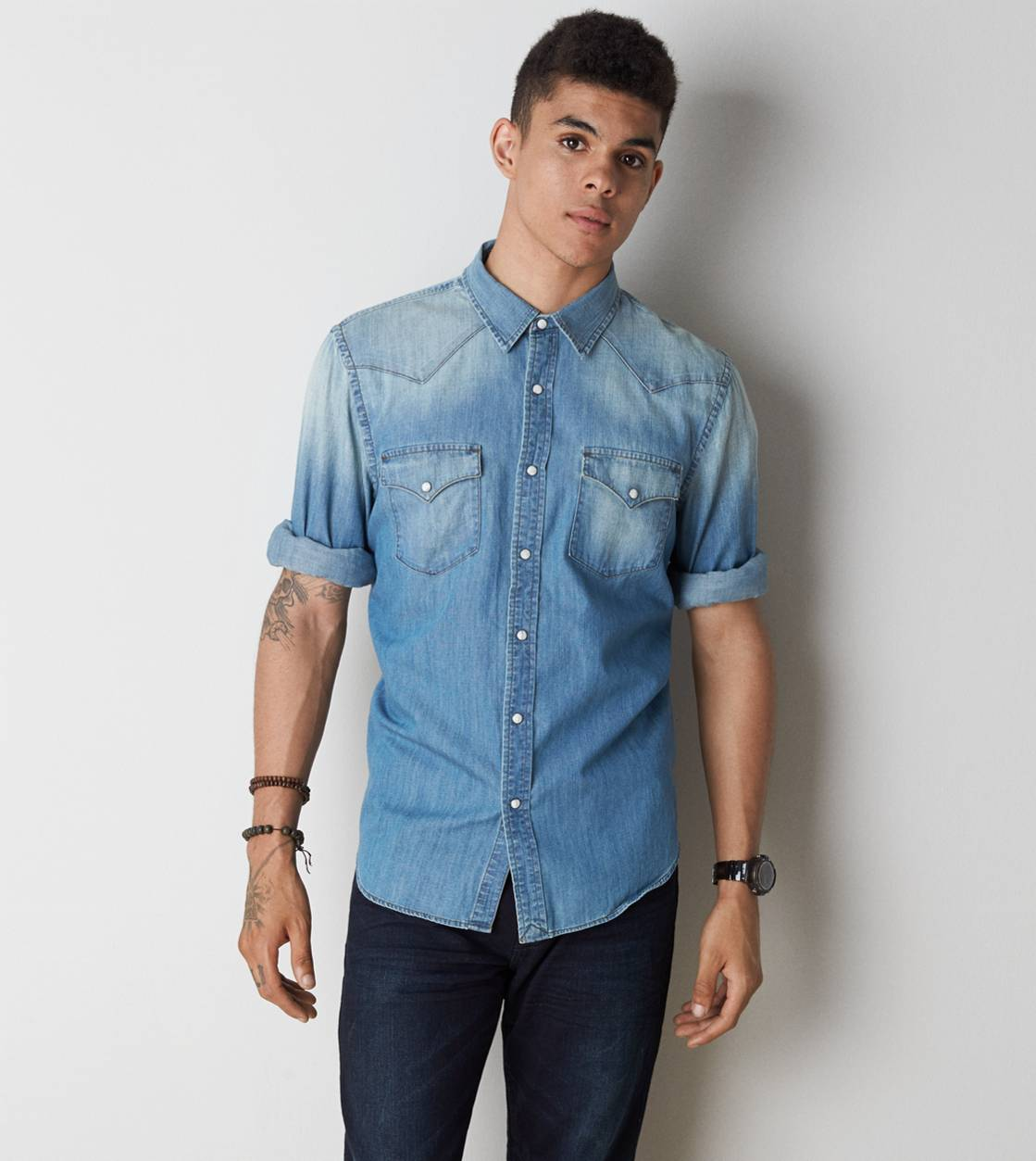 Washed Blue AE Denim Western Shirt