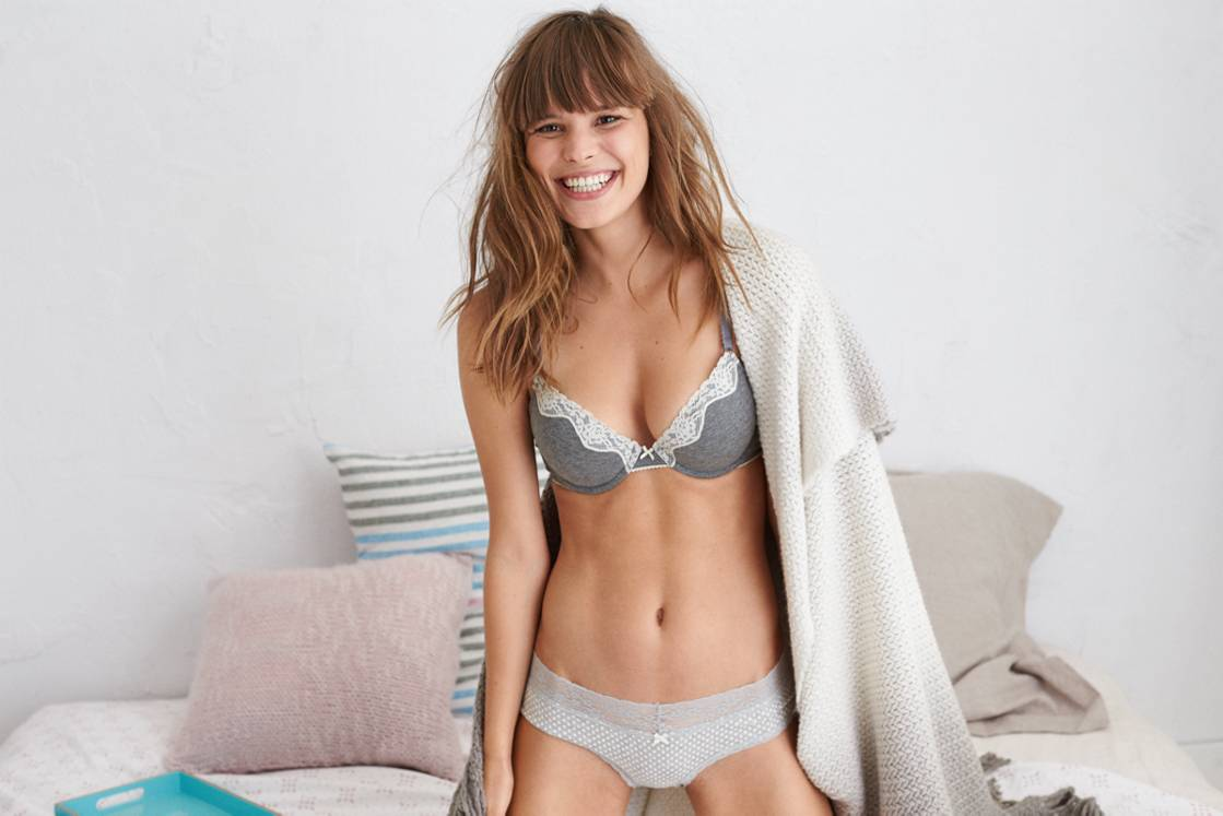 Dark Heather Grey Bridget Cotton Pushup Bra